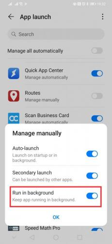 Change value to 'Manage manually'. It is important, that you allow Routes to 'Run in background'